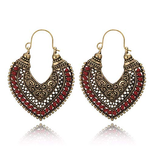 spyman Vintage Jewelry Carving Hollow Gypsy Heart Earrings Women Pendientes Mujer ()