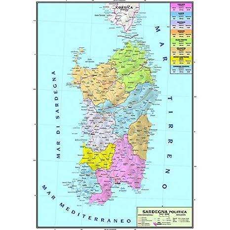 Carta Geografica Murale Regionale Sardegna 100x140 Bifacciale Fisica