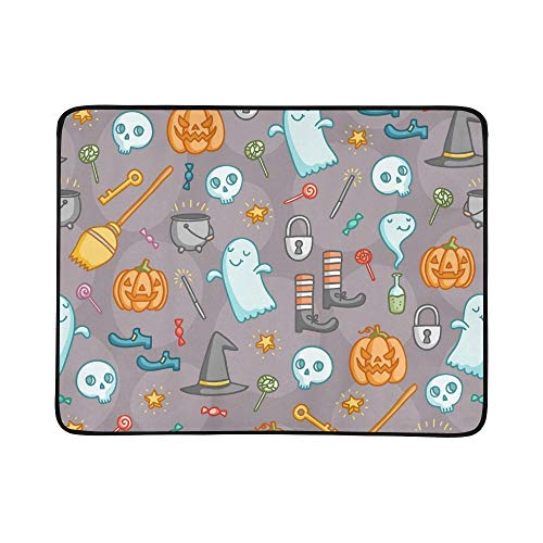 (YKNFIS Halloween Doodle Bunch Creepy Portable and Foldable Blanket Mat 60x78 Inch Handy Mat for Camping Picnic Beach Indoor Outdoor)