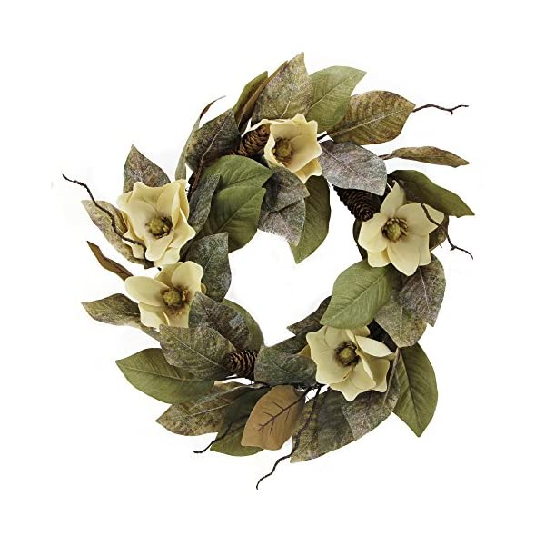 Admired By Nature 24″ Magnolia Pine for Home Office Front Door Wreath, Wall Hanging Arrangement Decoration