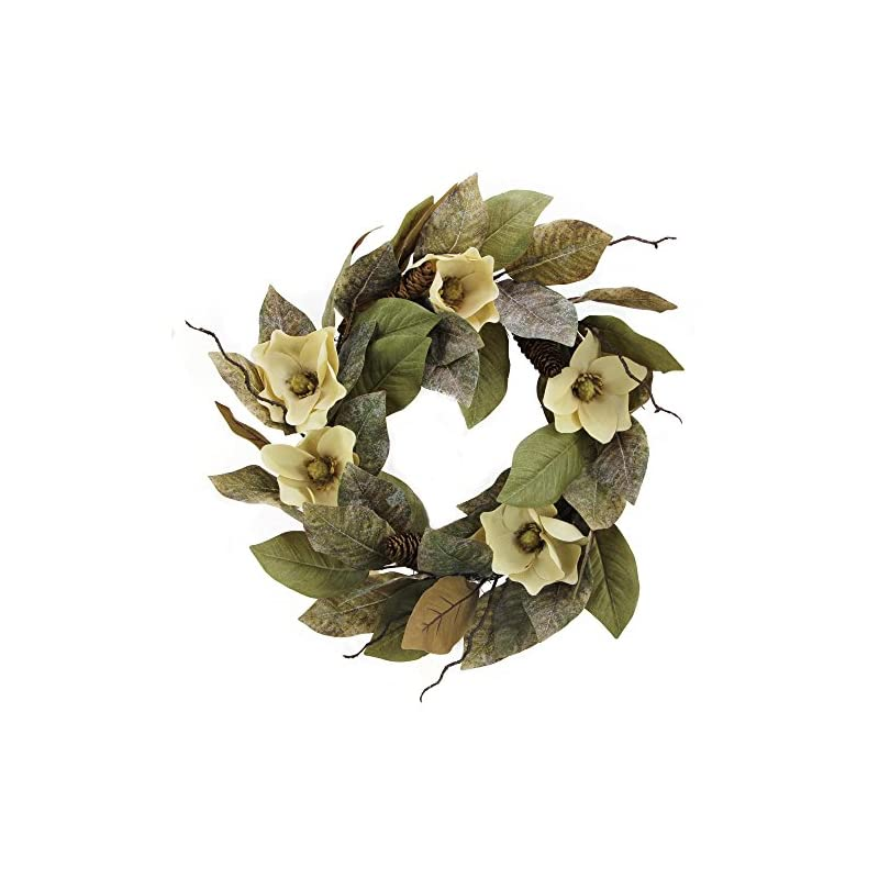 "silk flower arrangements admired by nature 24"" magnolia pine for home office front door wreath, wall hanging arrangement decoration"