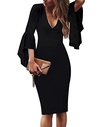 767a9562e3 Jacansi Women V Neck Pleated Work Business Bodycon Pencil Dress Pockets   Amazon.co.uk  Clothing