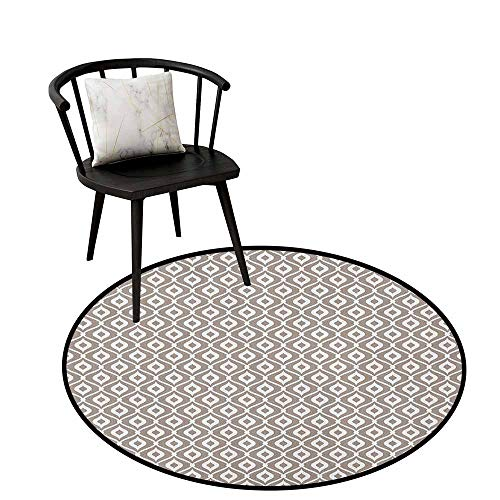 (Circle Rugs Abstract,Waves Curvy Motifs Mosaic Tile Pattern Old Fashioned Design with Retro Effect, Taupe White,for Kitchen Floor Bathroom 35