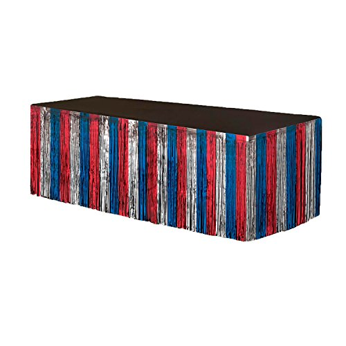 Patriotic Metallic Fringe Table Skirt Red, Silver and Blue 9 feet x 29 inches Pkg/6