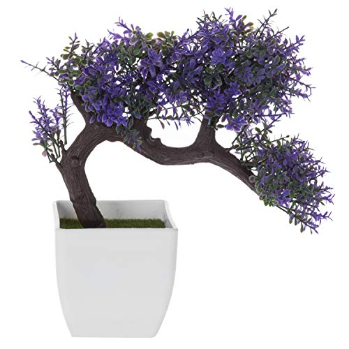 MyGift Purple Blossom Artificial Bonsai Tree, Faux Potted Plant w/White Planter