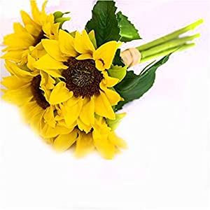 BEIGU Set of 6 Artifical Sunflower Real Looking Silk Flowers Home Decoration For Wedding Centerpieces Indoor Decor 30