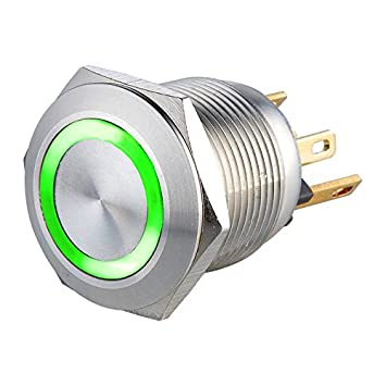 LANGIR 0.5A 24VDC Momentary Normally Open LED Ring Illuminated Metal Stainless Steel Push Button Switch With Pin Terminal Suitable for 19mm Mounting Hole (12V, Green) LANGIR Electric Co. Ltd. L19MFSRG12