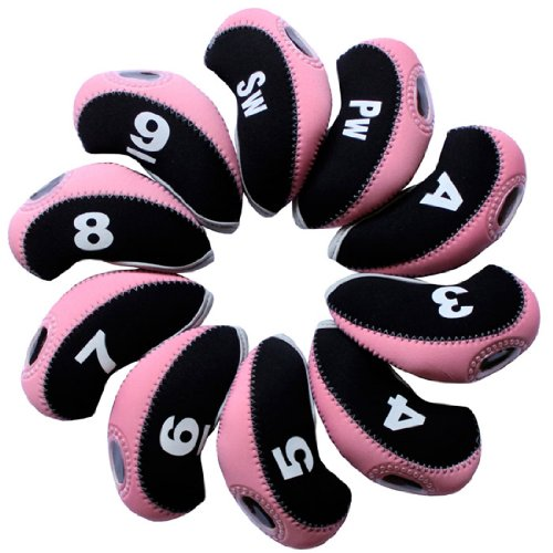 (Andux Number Tag Golf Iron Covers 10pcs/Set Mt/s05 Black/Pink)
