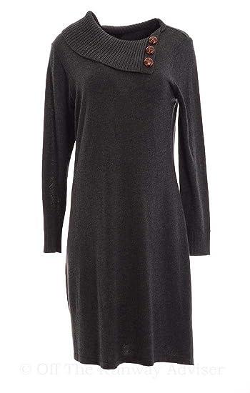 16e3b6516b4 Amazon.com  Chequer Women s Foldover Collar Knit Sweater Dress Large ...