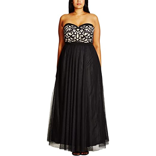 Plus Size It Girl Strapless Black Maxi Dress