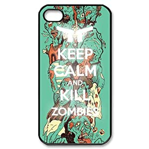 Custom Keep Calm And Kill Zombies Hard Back Cover Case for iPhone 4/4s OR-1612