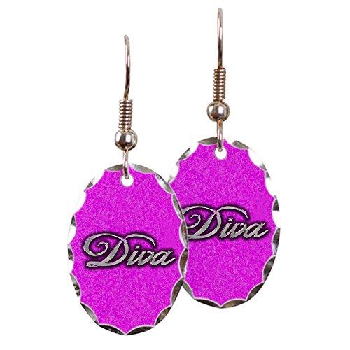 Earring Oval Charm Pink Diva Princess