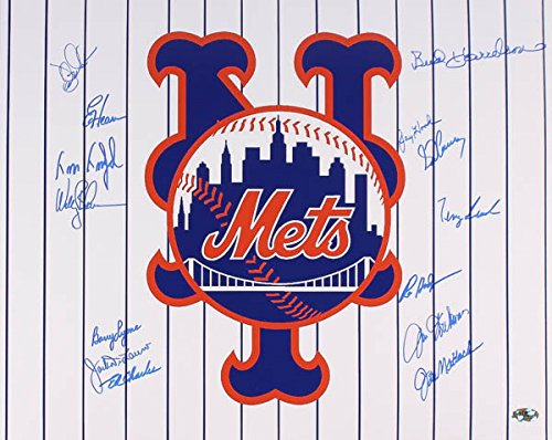 NY METS LOGO MULTI SIGNED 16x20 w/JAY HOOK HARRELSON HEAP LYONS MATLACK LEACH +8 (Multi Logo Collage)