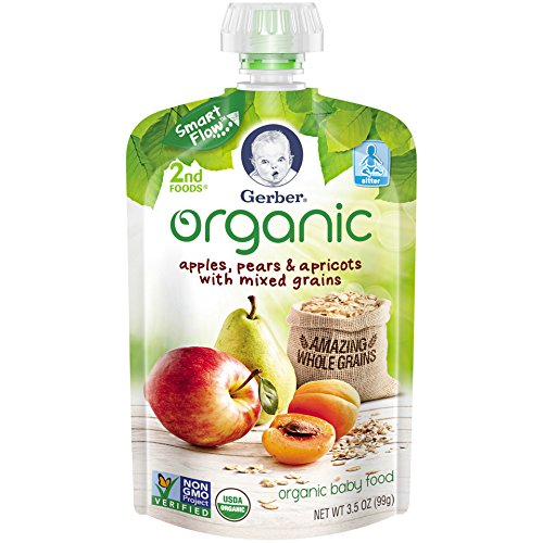 Gerber Organic 2nd Foods Baby Food, Apples, Pears & Apricots with Mixed Grains, 3.5 oz Pouch, 12 count (Organic 2nd Foods Apple)