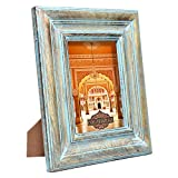 Indian Heritage Wooden Photo Frame 5x7 Mango Wood Molding Design in Turquoise Blue Finish