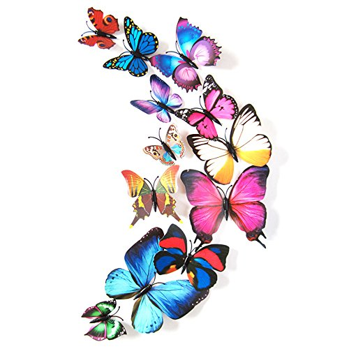 Baiyu 12 Pcs 3D Magnet Butterfly Wall Stickers Collection Crafts Removeable DIY Fridge Magnets Art Decoration for Room Wall Decor with Stick Glue--Coloful