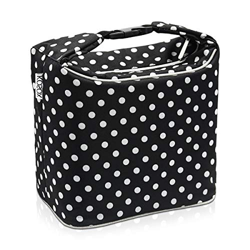 Lunch Bag - Tote Reusable Cooler Bag Polka Dot Thermal Insulated Lunch Bag for Work Women and School Grils (Black/White Dot)