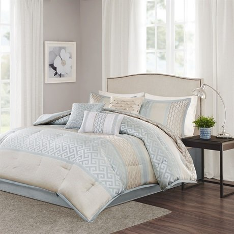 picture of Madison Park Bennett 7 Piece Comforter Set Aqua CalKing