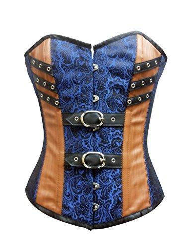 じゃない増幅する言い聞かせるBlue Brocade Brown Leather Goth Steampunk Bustier Waist Training Overbust Corset
