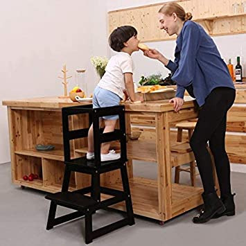 SDADI Kids Kitchen Step Stool with Safety Rail CPSC Certified - for  Toddlers 18 Months and Older, Black LT01B