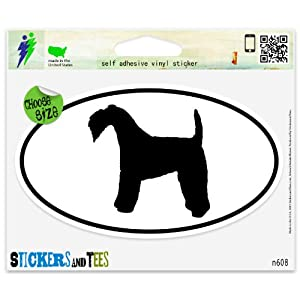 "Kerry Blue Terrier Dog Breed Shape Oval Car Sticker Indoor Outdoor 5"" x 3"" 30"