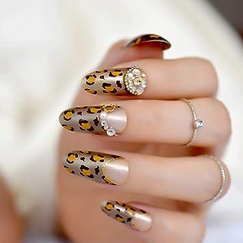 Amazon com : 3D Crystal Nail Art Decoration Tips Leopard