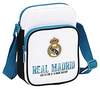 Real Madrid 611754672 - Bandolera 16 x 22 x 6 cm, Blanco