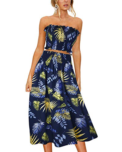 ULTRANICE Women's Floral Print Tube Crop Top Maxi Skirt Set 2 Piece Outfit - 2 Womens Piece Dress