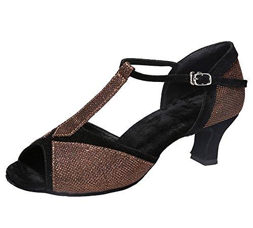 Missfiona Da Donna T-strap Ballroom Scarpe Da Ballo Latino Con Peep-toe 2 Tacco Marrone