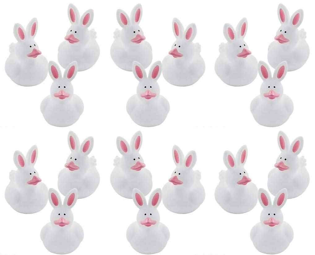Fun Express Easter Bunny Rabbit Rubber Ducky Party Favors 24 Pack