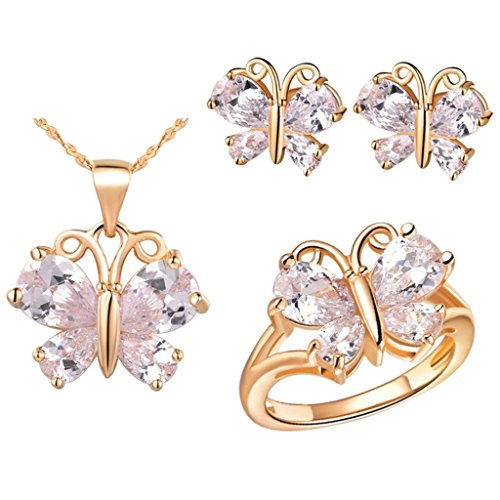 [Aomily Jewelry, Gold Butterfly Womens Earring Necklace And Ring Sets Rose Gold Decoration Size 9] (Chain Smoker Halloween Costume)
