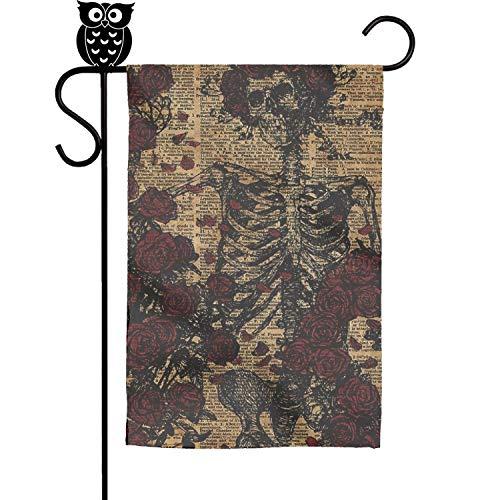 Quinnteens Skeleton Art Skeleton with Roses Book Home Garden Flag Yard Flag Summer Yard Outdoor Decorative 12x18 inch