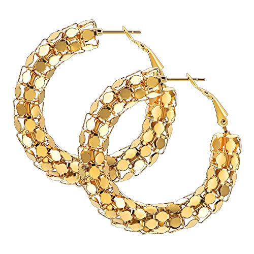 Women Girls Medium Hoop Earrings 40mm 18K Gold