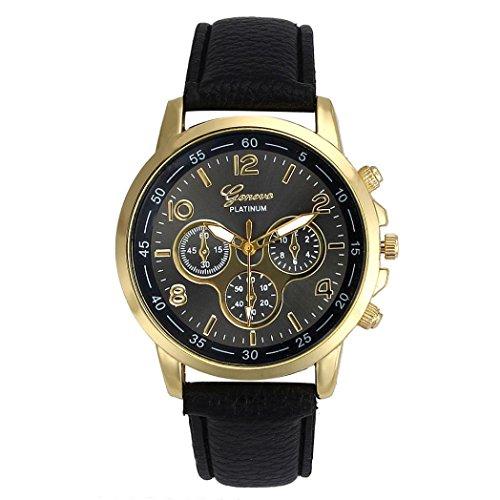 Pocciol Watches, 2018 New Waterproof Unisex Casual Geneva Faux Leather Quartz Analog Wrist Watch Clock Fashion (Black)