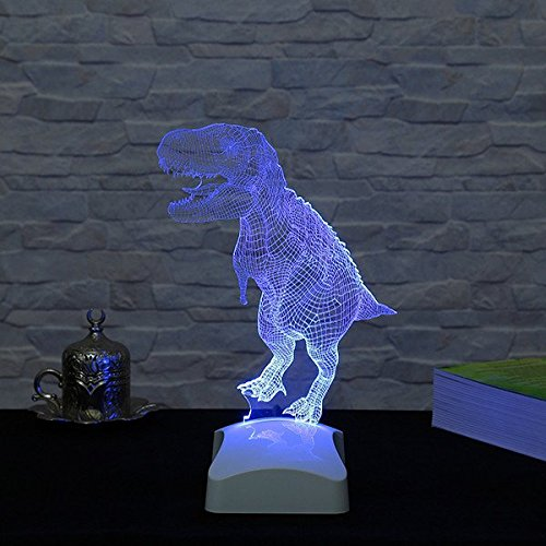 LaModaHome Jurassic Hologram Table Lamp - Old Big Animal Friend T-Rex, 100% Plexiglass, Size (9.1'' x 10.6'') 3D Illusion Minimalist Solid Bedside Table Lamp for Living Room, Bedroom, Kids Room by LaModaHome (Image #2)