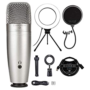 Samson C01U Pro USB Studio Condenser Microphone for iPad, Mac, and Windows Bundle with Blucoil Pop Filter Windscreen, 6…