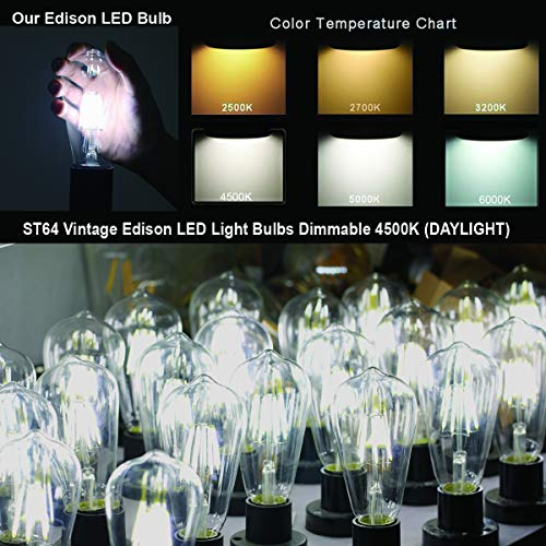 LED Edison Bulb 60W Dimmable Equivalent 6W LED Light Bulbs ST64 Decorative Vintage Light Bulb Clear Glass 4500K Daylight White E26 Base for Farmhouse, Pendant, Wall Sconce, Chandelier Pack of 6