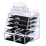 SONGMICS Makeup Organizer 7 Drawers Cosmetic Storage Display with 11 Top Compartments for Brush Lipsticks 3 Pieces Set Clear UJMU07T