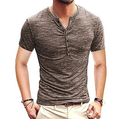 F.Honey Men's Casual Slim Fit Short Sleeve Henley T-Shirts Cotton Shirts (US-M, MBS006-Coffee)