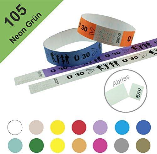 Einlassbänder, Kontrollbänder aus Tyvek – wasserfest, sicher, reißfest - 19mm, bedruckt, Motiv Ü30 (100 Stück Neon Grün)