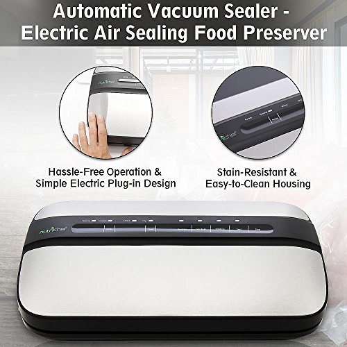 NutriChef Automatic Handheld Vacuum Sealer Machine - Simple & Compact Fresh Saver Meal - with Built-In Roll Storage & Cutter - Dry, Moist & Marinate Food Modes (Stainless Steel) by NutriChef (Image #4)
