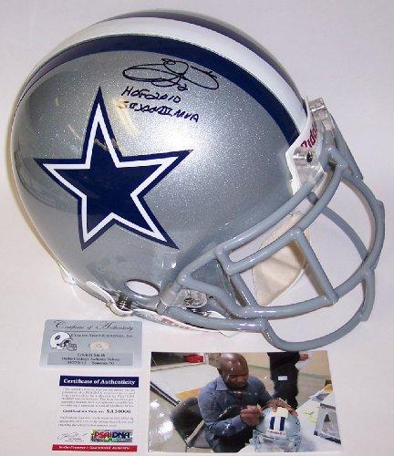 Emmitt Smith Autographed Hand Signed Dallas Cowboys Full Size Authentic Football Helmet - with HOF 2010 & SB XXVIII MVP Inscriptions - (Emmitt Smith Hand Signed)