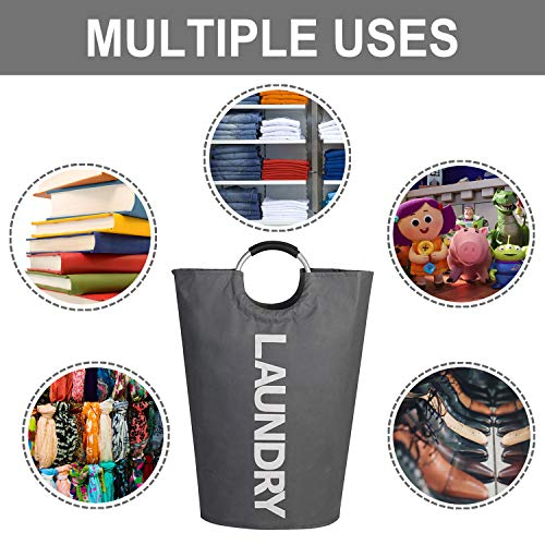 MEMX Laundry Basket, 82L Laundry Hamper - Durable Handles Collapsible Fabric Laundry Bag, Waterproof Portable Washing Bin Folding Clothes Bag, Storage Basket for Dorm Room Bathroom College(Dark Grey)