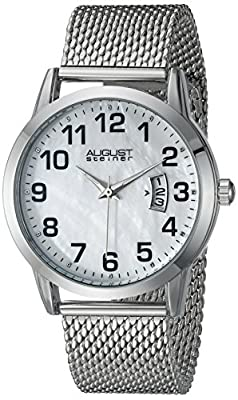 August Steiner Men's AS8195SS Silver Swiss Quartz Watch with White Dial and Silver Mesh Bracelet