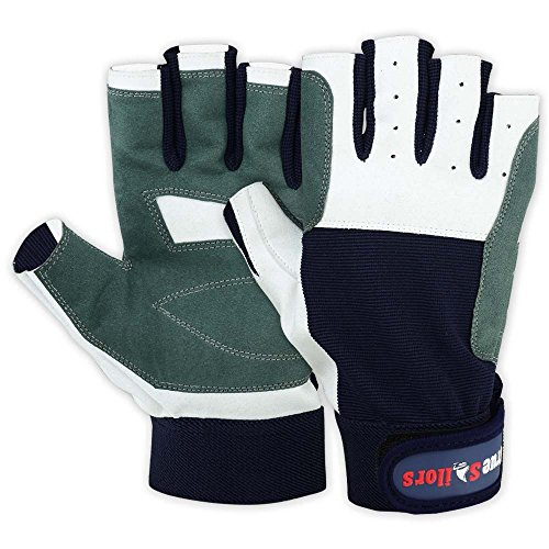 MRX BOXING & FITNESS Mens Sailing Gloves Deckhand Gripy Glove White/Blue