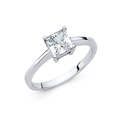8ed1a939507e2 Princess CZ Single Stone Engagement Ring 14k Yellow OR White Gold ...