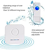 Wireless Doorbell 3 Receivers and 2 Push Buttons, IP55 Waterproof Chime Kit, 1000 Feet Operating, LED Indicator, 4 Level Volume, 52 Chimes Options