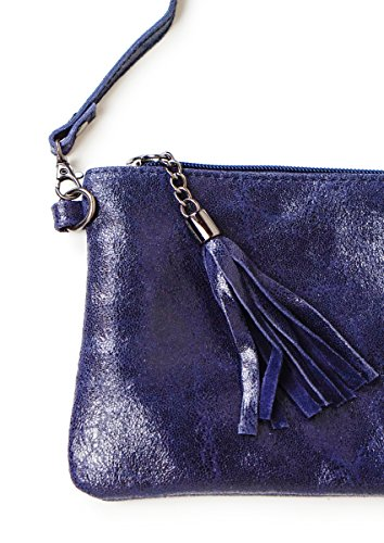 DesiDo® - Cartera de mano de Piel Lisa para mujer azul marino