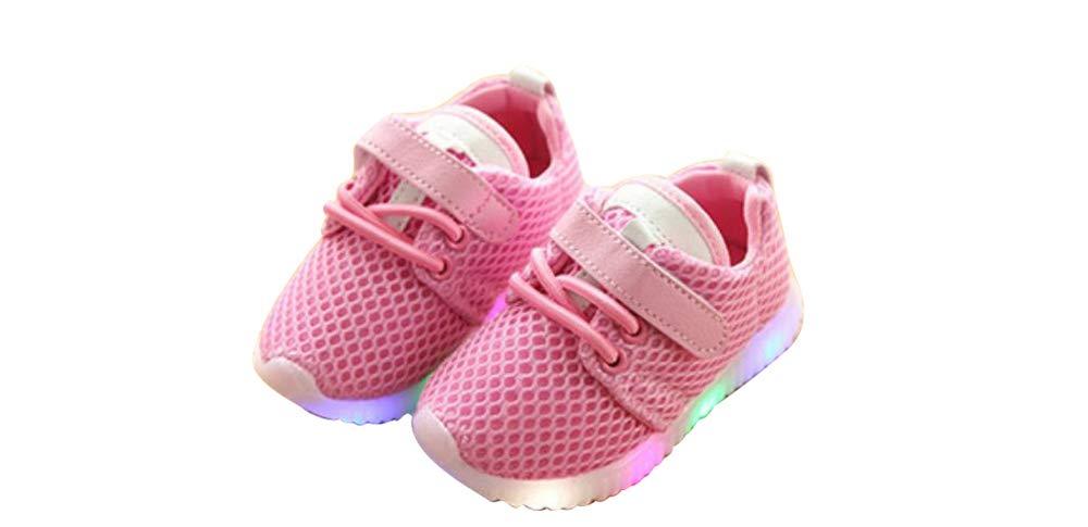 edv0d2v266 Toddler Kids Children Baby Striped Shoes LED Light up Luminous Sneakers(Pink 28/11MUSLittleKid)