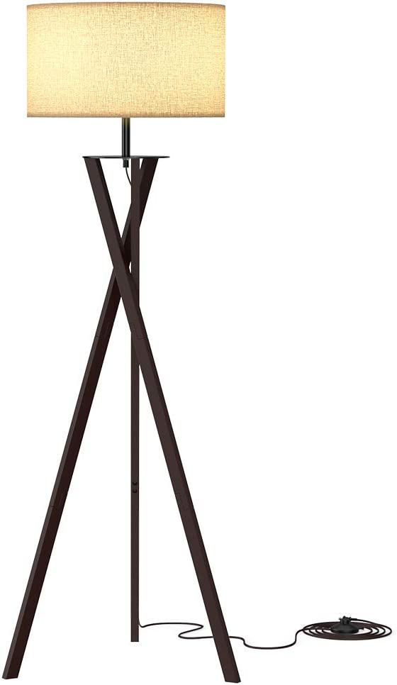 LEPOWER Wood Tripod Floor Lamp, Modern Design Standing Lamp, Mid Century Studying Light for Living Room, Bedroom and Office, Flaxen Lamp Shade with E26 Lamp Base